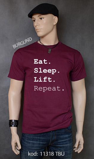 koszulka męska EAT SLEEP LIFT REPEAT kolor burgund