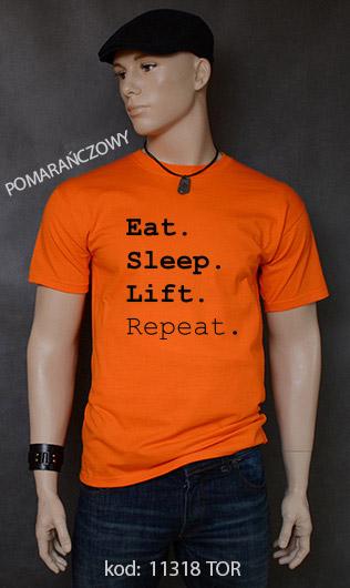 koszulka męska EAT SLEEP LIFT REPEAT kolor pomarańczowy