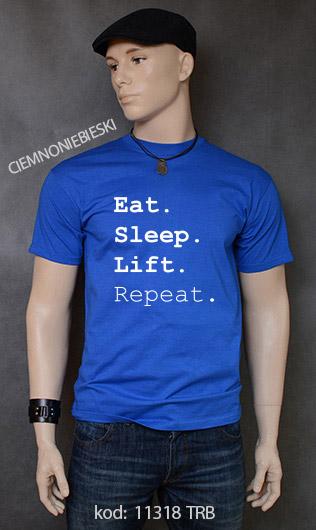 koszulka męska EAT SLEEP LIFT REPEAT kolor ciemnoniebieski