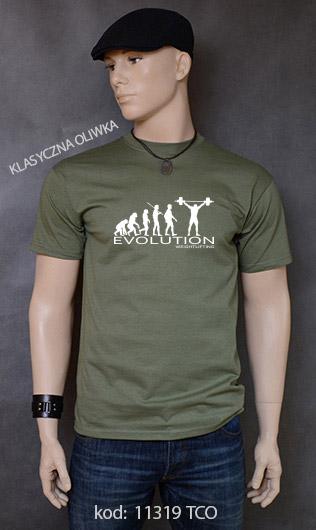 koszulka męska WEIGHT LIFTING EVOLUTION kolor klasyczna oliwka