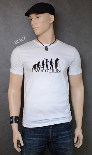 koszulka męska PHOTOGRAPHER EVOLUTION kolor biały