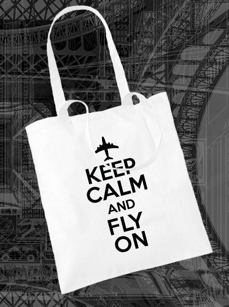 torba na zakupy KEEP CALM AND FLY ON kolor biały