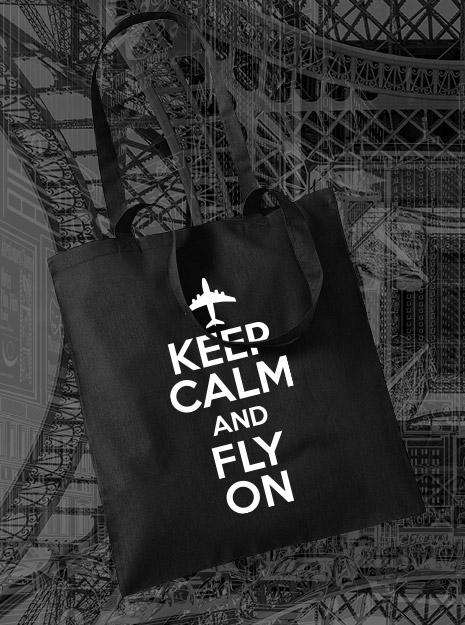 torba na zakupy KEEP CALM AND FLY ON kolor czarny