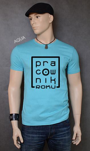koszulka męska PRACOWNIK ROKU kolor aqua