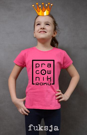 koszulka dziewczęca PRACOWNIK ROKU kolor fuksja