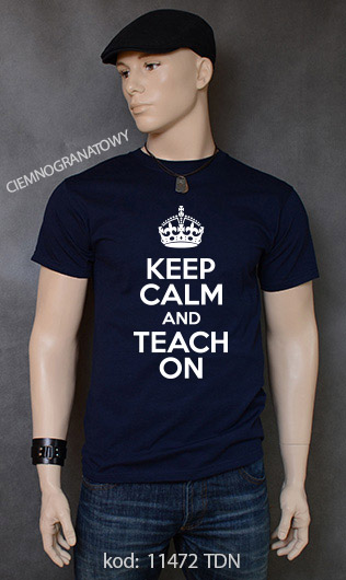 koszulka męska KEEP CALM AND TEACH ON kolor ciemnogranatowy