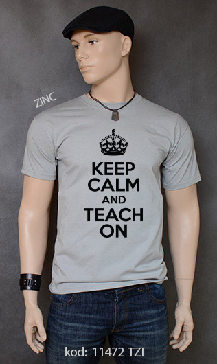 koszulka męska KEEP CALM AND TEACH ON kolor zinc