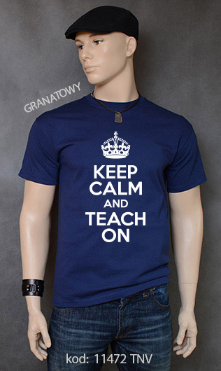 koszulka męska KEEP CALM AND TEACH ON kolor granatowy