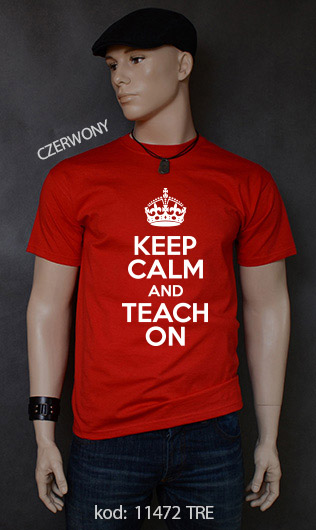 koszulka męska KEEP CALM AND TEACH ON kolor czerwony