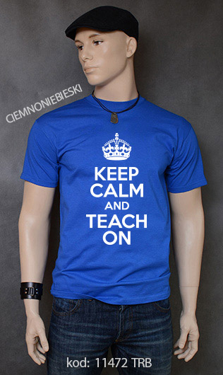 koszulka męska KEEP CALM AND TEACH ON kolor ciemnoniebieski