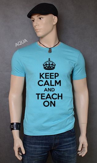 koszulka męska KEEP CALM AND TEACH ON kolor aqua