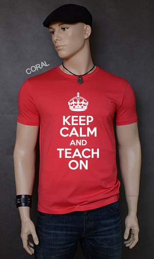 koszulka męska KEEP CALM AND TEACH ON kolor coral