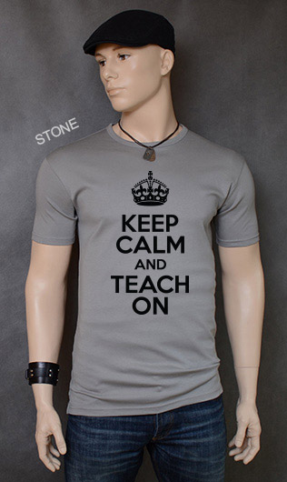 koszulka męska KEEP CALM AND TEACH ON kolor stone