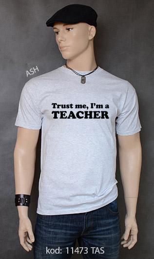 koszulka męska TRUST ME I'M A TEACHER kolor ash