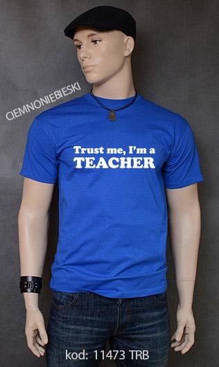koszulka męska TRUST ME I'M A TEACHER kolor ciemnoniebieski