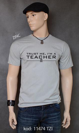 koszulka męska TRUST ME I'M A TEACHER kolor zinc