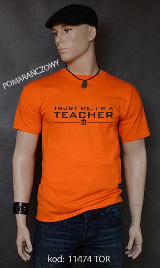 koszulka męska TRUST ME I'M A TEACHER kolor pomarańczowy