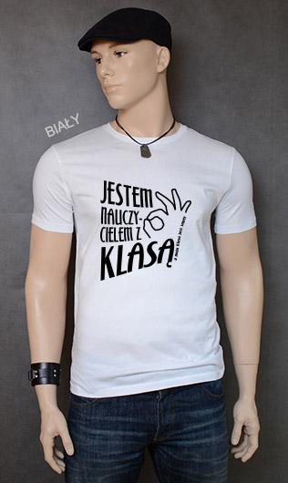 koszulka męska JESTEM NAUCZYCIELEM Z KLASĄ kolor biały