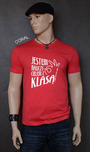 koszulka męska JESTEM NAUCZYCIELEM Z KLASĄ kolor coral