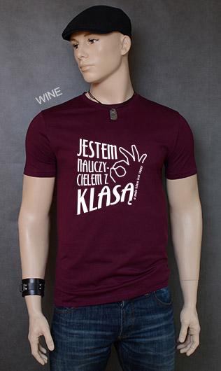 koszulka męska JESTEM NAUCZYCIELEM Z KLASĄ kolor wine