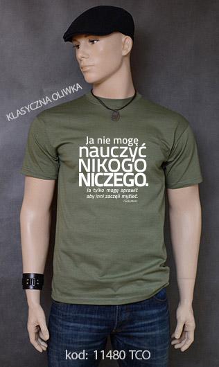 koszulka męska NIE MOGĘ NAUCZYĆ NIKOGO NICZEGO kolor klasyczna oliwka