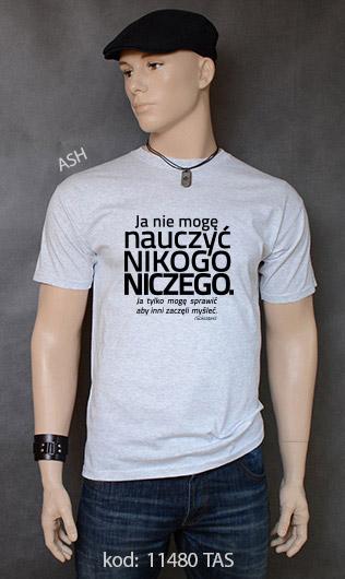 koszulka męska NIE MOGĘ NAUCZYĆ NIKOGO NICZEGO kolor ash
