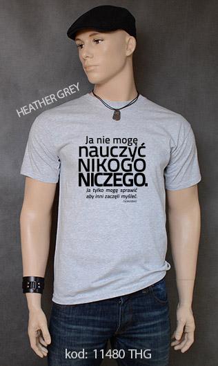 koszulka męska NIE MOGĘ NAUCZYĆ NIKOGO NICZEGO kolor heather grey