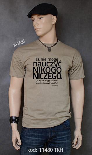 koszulka męska NIE MOGĘ NAUCZYĆ NIKOGO NICZEGO kolor khaki