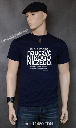 koszulka męska NIE MOGĘ NAUCZYĆ NIKOGO NICZEGO kolor ciemnogranatowy