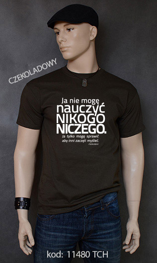 koszulka męska NIE MOGĘ NAUCZYĆ NIKOGO NICZEGO kolor czekoladowy
