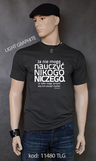 koszulka męska NIE MOGĘ NAUCZYĆ NIKOGO NICZEGO kolor light graphite