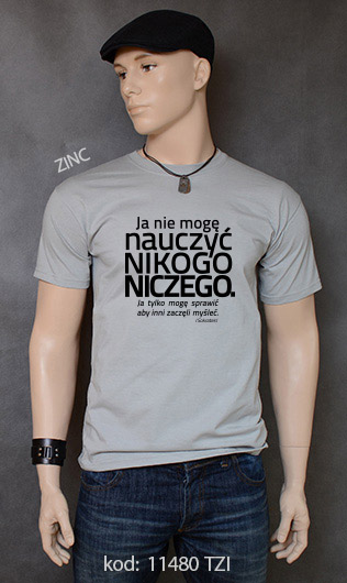 koszulka męska NIE MOGĘ NAUCZYĆ NIKOGO NICZEGO kolor zinc