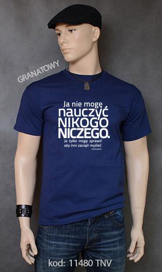 koszulka męska NIE MOGĘ NAUCZYĆ NIKOGO NICZEGO kolor granatowy