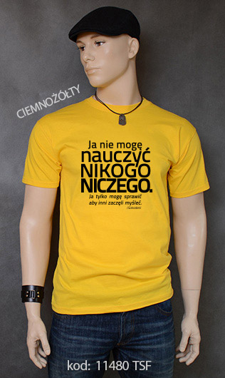 koszulka męska NIE MOGĘ NAUCZYĆ NIKOGO NICZEGO kolor ciemnożółty