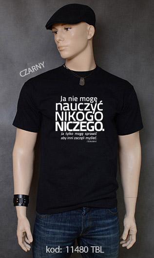 koszulka męska NIE MOGĘ NAUCZYĆ NIKOGO NICZEGO kolor czarny