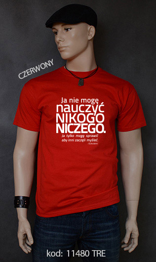 koszulka męska NIE MOGĘ NAUCZYĆ NIKOGO NICZEGO kolor czerwony