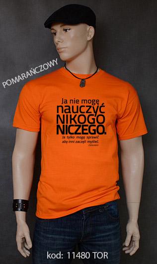 koszulka męska NIE MOGĘ NAUCZYĆ NIKOGO NICZEGO kolor pomarańczowy