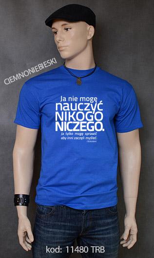 koszulka męska NIE MOGĘ NAUCZYĆ NIKOGO NICZEGO kolor ciemnoniebieski