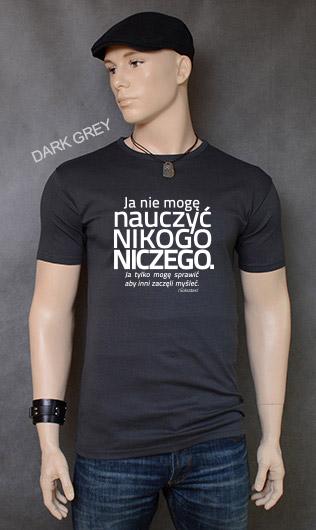 koszulka męska NIE MOGĘ NAUCZYĆ NIKOGO NICZEGO kolor dark grey