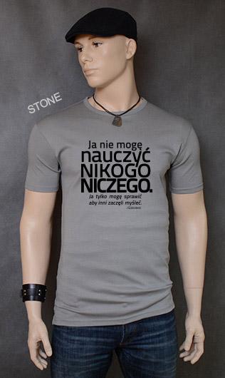koszulka męska NIE MOGĘ NAUCZYĆ NIKOGO NICZEGO kolor stone