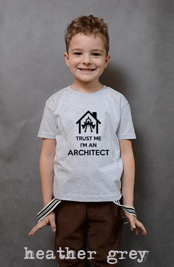 koszulka chłopięca TRUST ME I'M AN ARCHITECT kolor heather grey