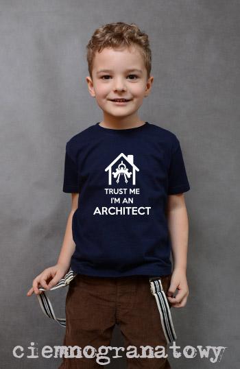 koszulka chłopięca TRUST ME I'M AN ARCHITECT kolor ciemnogranatowy
