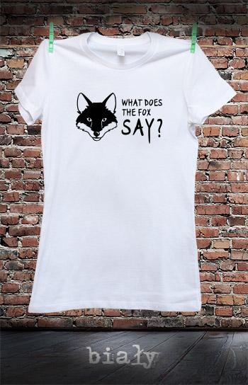 koszulka damska WHAT DOES THE FOX SAY kolor biały