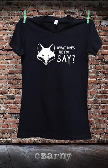 koszulka damska WHAT DOES THE FOX SAY kolor czarny