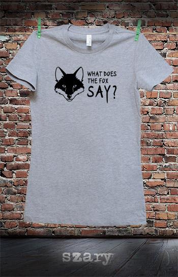 koszulka damska WHAT DOES THE FOX SAY kolor szary