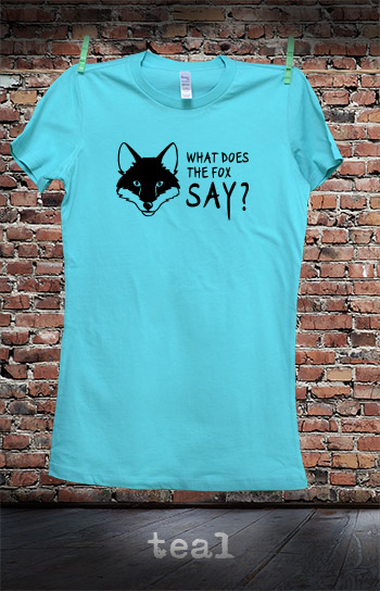 koszulka damska WHAT DOES THE FOX SAY kolor teal