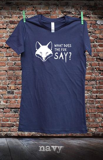 koszulka damska WHAT DOES THE FOX SAY kolor navy