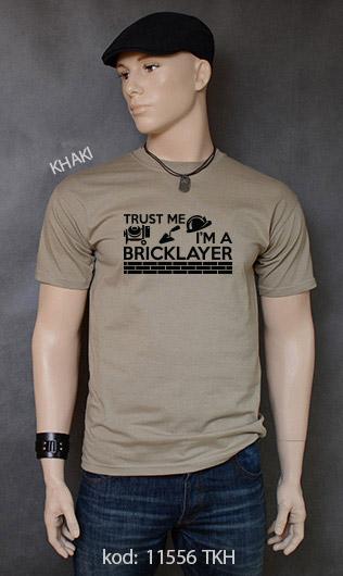 koszulka męska TRUST ME I'M A BRICKLAYER kolor khaki