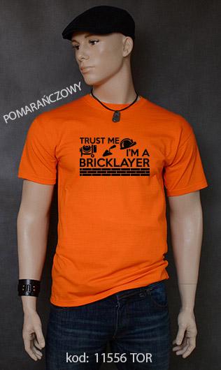 koszulka męska TRUST ME I'M A BRICKLAYER kolor pomarańczowy