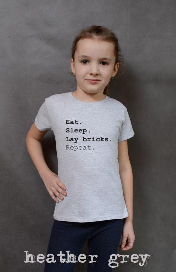 koszulka dziewczęca EAT SLEEP LAY BRICKS REPEAT kolor heather grey